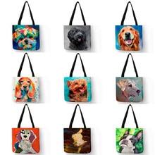 Эксклюзивные сумки для покупок с изображением собаки и масляной живописью для продуктов, женская сумка на плечо с принтом мопса ретривера, ...