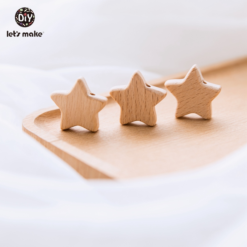 Let's Make Wood Beads 10Pcs Cartoon Star Shape Beech Wood Teething Bead Bpa Free Wooden Teether Baby Teether For Teeth Tiny Rod