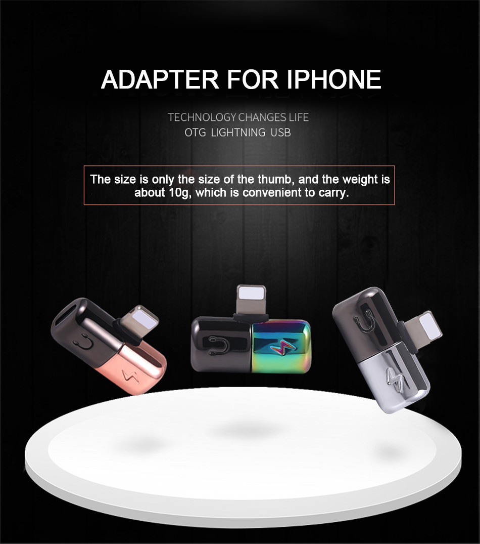 !ACCEZZ Mini Adapter For iphone X 8 7 Plus XS Max XR Headphone Adaptador For iphone Single Jack Charge Call Listen AUX Splitter (1)
