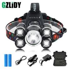 Super Bright 5xT6 LED Headlamp 4 Modes LED Headlight Outdoor Searchlight Fishing Light Camping Light Use 2 X 18650 Battery