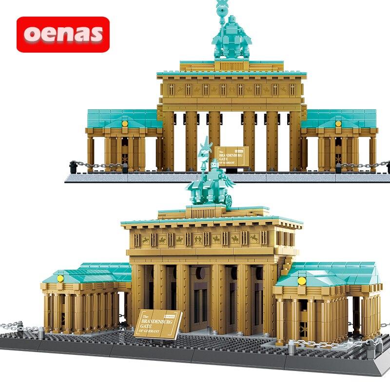 Совместимый Креатив архитектура Бранденбург ворота Берлинские знаковые сборные строительные блоки Строительство Кирпич детская игрушка