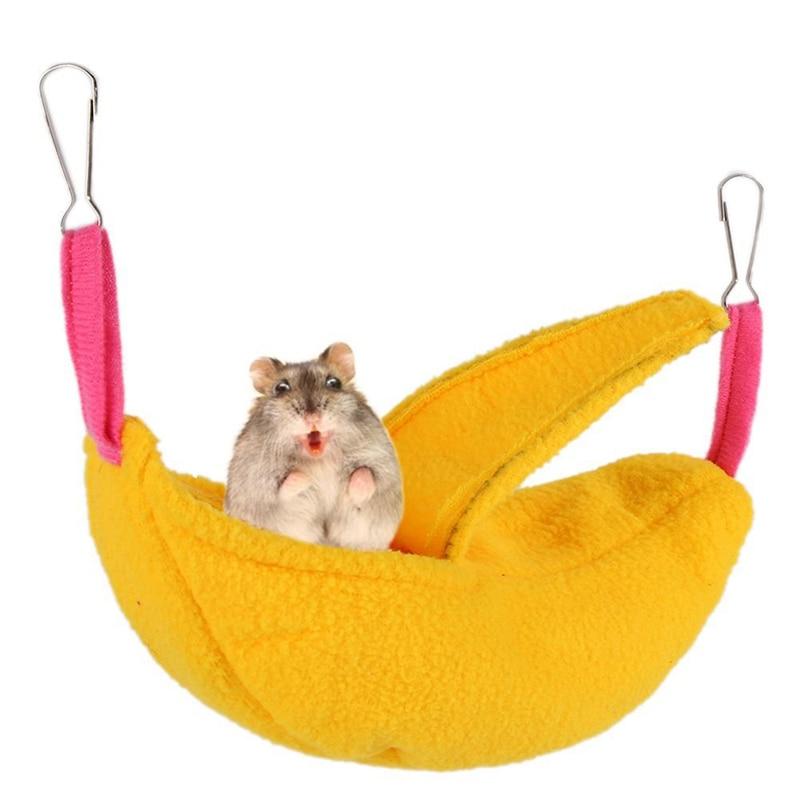 Hamster Warm Nest Banana Shape House Double Hammock Fabric Hamster Small Animal Pet Nest Pet Supplies