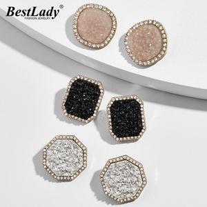 Женские серьги-гвоздики с цветными пуговицами Best Lady Ba, роскошные серьги высокого качества с блестящими кристаллами, модные вечерние серьги ...