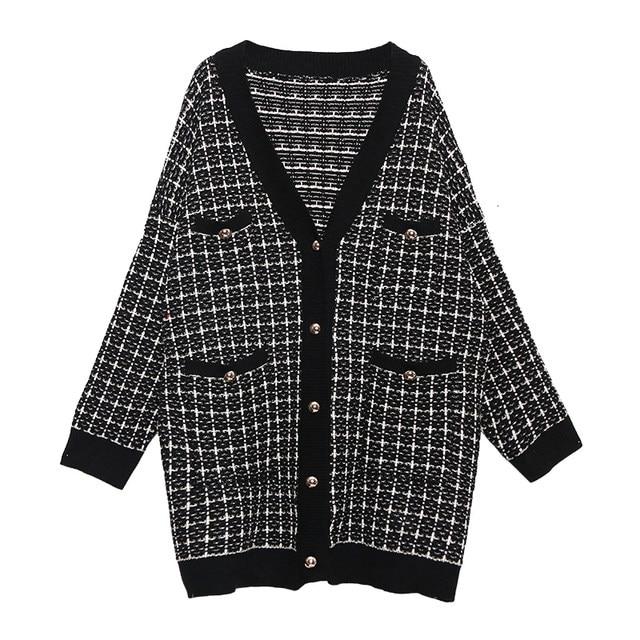 [EAM] black plaid big size Knitting Cardigan Sweater Loose Fit V-Neck Long Sleeve Women New Fashion Autumn Winter 2019 1K356 26