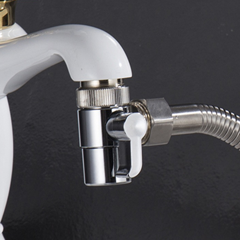 Copper Chrome Hot And Cold Water Faucet Water Nozzle Water Separator Valve Bathroom