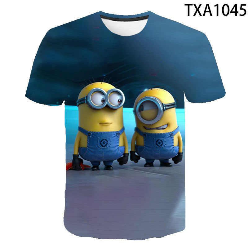 2020 비열한 나 미니언 T 셔츠 남성 여성 어린이 여름 짧은 소매 작은 노란색 남자 3D 인쇄 T-셔츠 소년 소녀 키즈 티