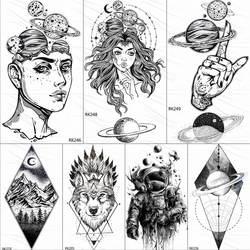 OMMGO Outspace, временные татуировки для женщин, планета, мозги, водостойкие, черные, геометрические, горные татуировки, боди-арт, поддельные