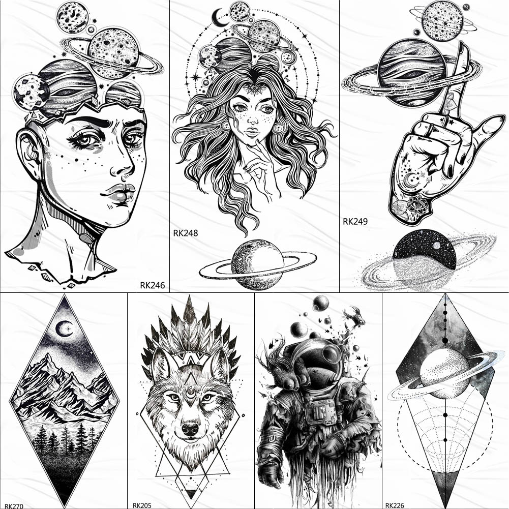OMMGO Outspace Women Planet Brain Temporary Tattoo Sticker Waterproof Black Geometric Mountain Tatoos Body Art Fake Tattoo Paper