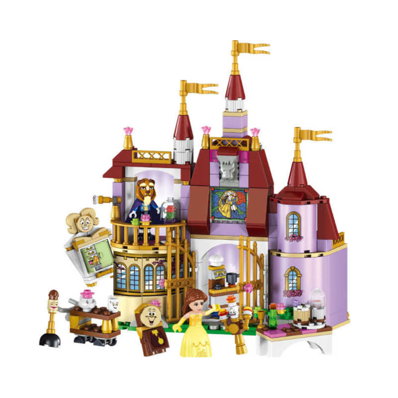 LELE 37001 Beauty And The Beast Princess Castle Building Blocks Sets Brick Compatible Legoinglys Playmobil Toys For Children