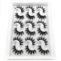 Pestañas de visón de imitación 5D hecho a mano lujoso volumen pestañas postizas naturales mullidas 9 pares