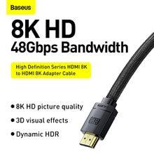 Baseus 8k hdmi-compatível com hdmi 8k/60hz cabo 48gbps cabo digital para xiaomi mi caixa ps5 ps4 pc caixa divisor interruptor