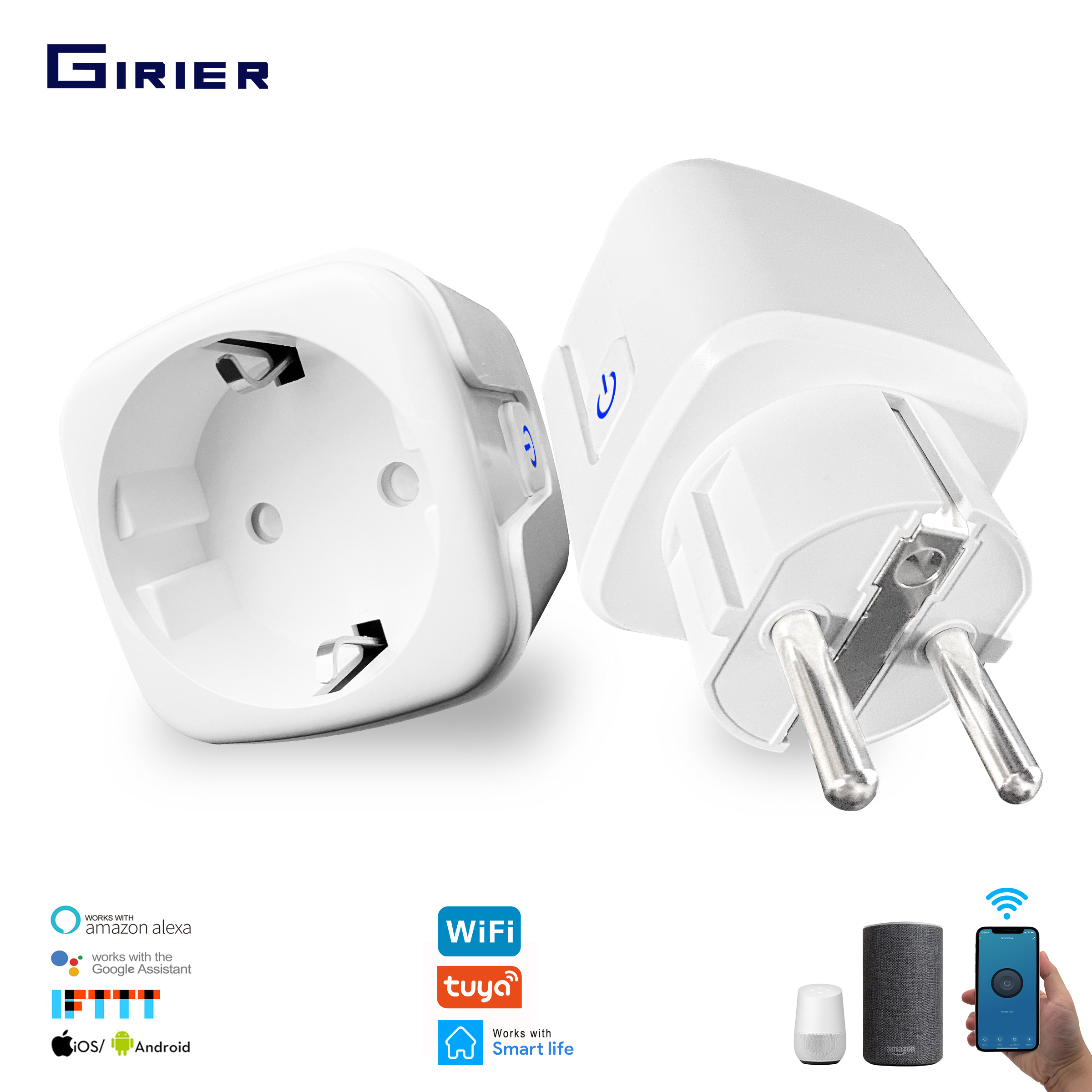 16A EU Smart Wifi Power Plug With Power Monitor Smart Home Wifi Wireless Socket Outlet Works With Alexa Google Home Tuya App