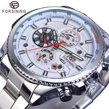 Forsining Men Fashion Mechanical Watch White Automatic 3 Sub Dial Multifunction Calendar Full Stainless Steel Belts Montre Homme - discount item  37% OFF Men's Watches