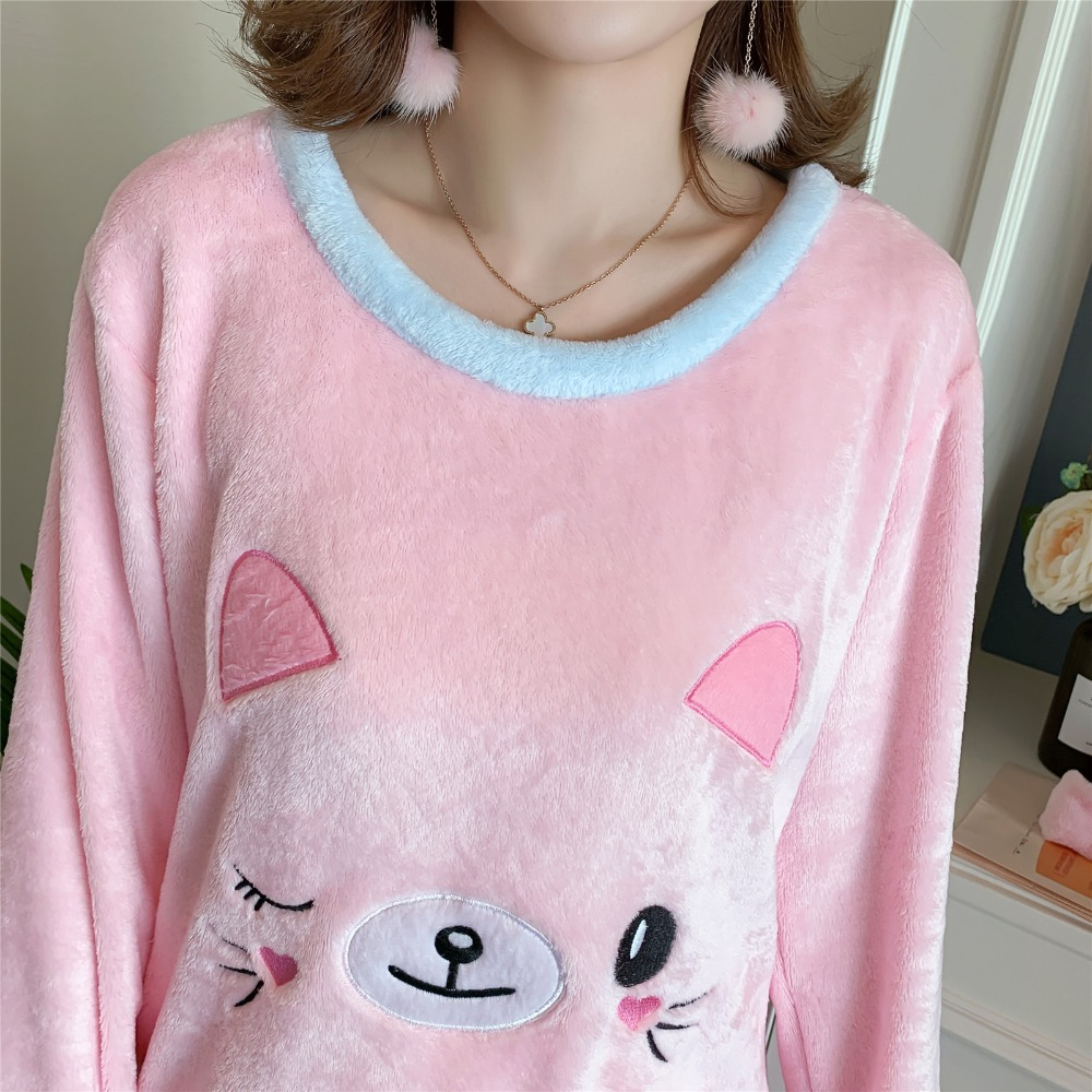 Betyline 2019 New Winter Pajamas For Women Sleepwear Warm Flannel Long Sleeves Pajamas Cute Animal Homewear Thick Homewear 143