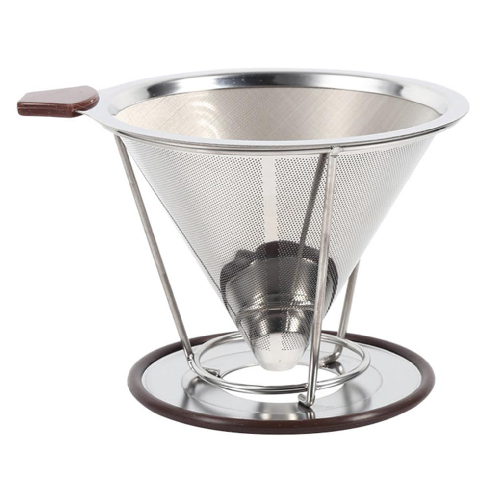 Reusable Stainless Steel Cone Coffee Filter Holder Dripper Double Layer Mesh Infuse Cup Coffee Filters