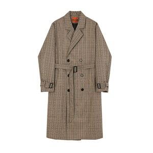 IEFB/männer tragen mid-länge trenchcoat plaid drucken Koreanische handsome oversize frühling knie-hohe Windjacke zweireiher 9Y3943