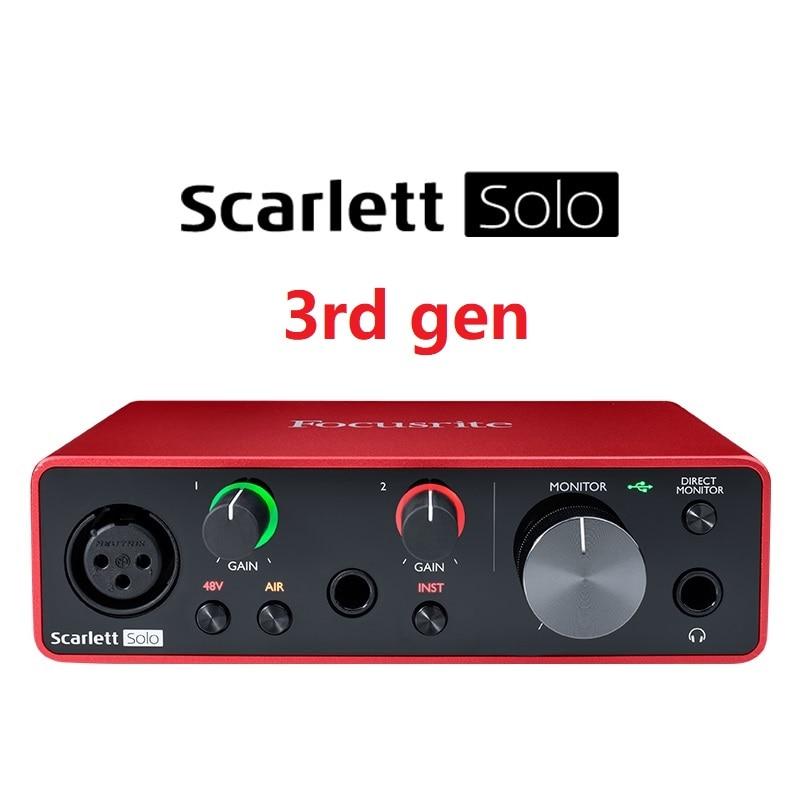 Новейшая звуковая карта Focusrite Scarlett Solo (3-го поколения) с USB аудио интерфейсом, 24 бит/192 кГц, AD-конвертеры для записи, микрофона, гитары