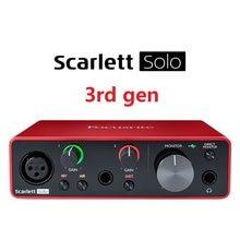 Mais novo focusrite scarlett solo (3rd gen) interface de áudio usb placa de som 24-bit/192khz ad-conversores para gravação de microfone guitarra