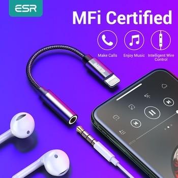 ESR Adapter MFI Lighting 3.5MM Headphone Jack Aux Plug Audio Play For iPhone X 7 8 Plus XR XS 11 pro Max etc Earphone Adapter