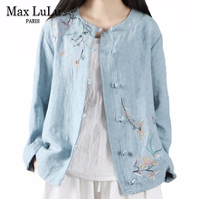 Max LuLu New Chinese Style 2020 Summer Ladies Vintage Tops Women Casual Embroidery Shirts