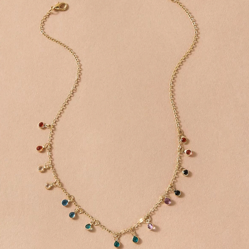 Tocona Bohemian Colorful Crystal Stone Choker Necklace for Women Gold Alloy Metal Charm Handmade Chain Jewelry Collars 8877