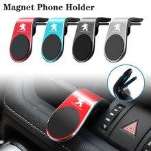 1Pcs Para Peugeot 106 107 108 206 207 208 306 307 308 508 2008 3008 5008 Estilo Do Carro Magnético Suporte Do Telefone Do Carro de Saída de Ar Clipe