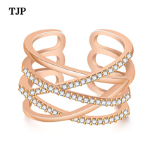 2019 Fashion New Plated Rose Gold Temperament Girls Ring Adjustable Size Ring Valentine's Day Gift romantic plated rose gold rhinestone coralline ring