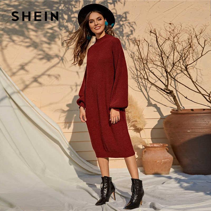 SHEIN Burgundy Solid ลำลองเสื้อกันหนาวผู้หญิงฤดูใบไม้ร่วงบิชอปสุภาพสตรีตรง MIDI ชุดฤดูหนาว
