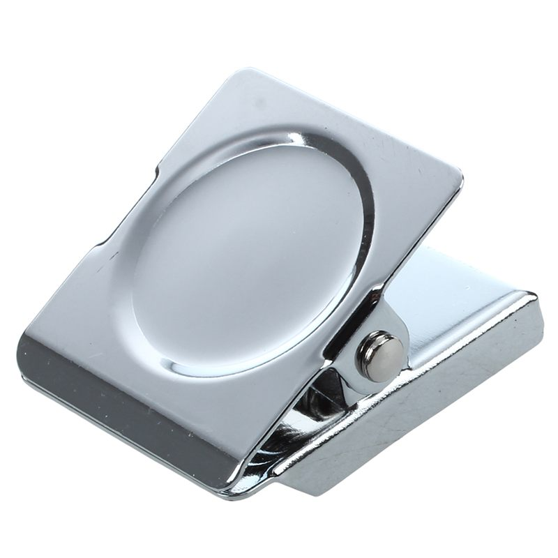 Silver Tone Spring Loaded Memo Ticket Magnetic Fridge Wall Clip