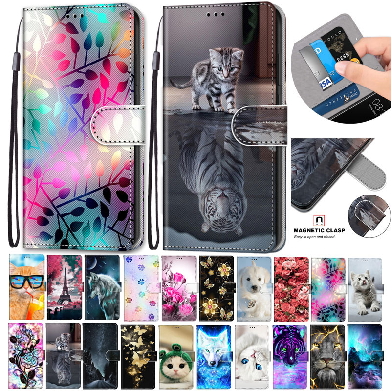 Flip Leather Case For Alcatel 1S 3L 2020 Fundas 3D Wallet Card Holder Stand Book Cover Cat Dog Painted Coque Capa Flower(China)