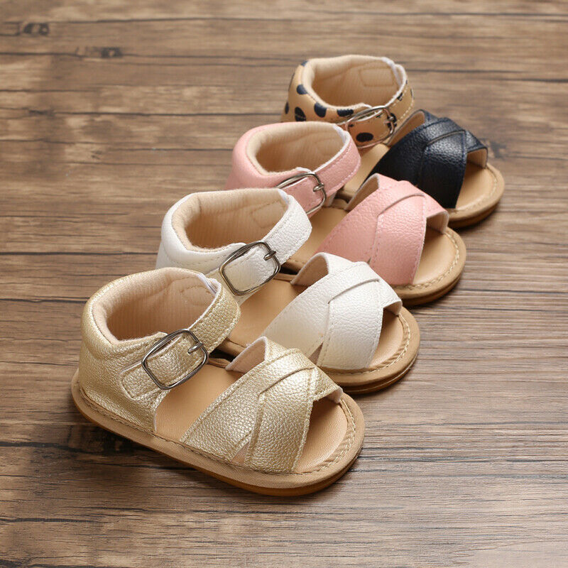 2019 Baby Summer Sandals Newborn Infant Baby Girls Boys Shoes Cute Solid Non-slip PU Leather Breathable Toddler Shoes 0-18M