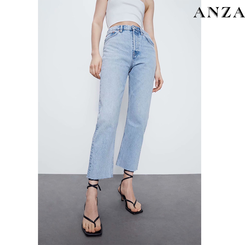 Za Women Jeans 2020 New High Street Fashion With High Waist Solid Vintage Loose  Jeans Blue Long Denim Pencil Pants For Women