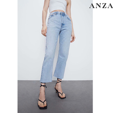 Za Women Jeans 2020 New High Street Fashion with High Waist Solid Vintage Loose