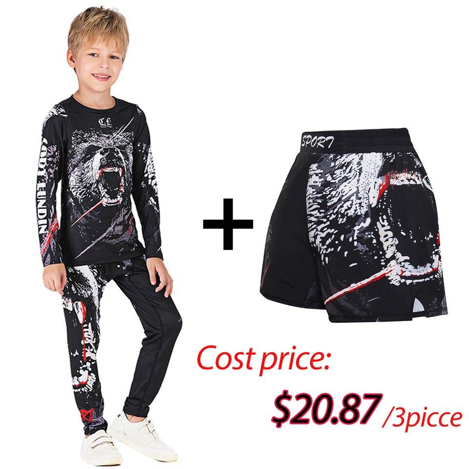 Kids MMA Rashguard BJJ GI T-shirt +Pants  Jiu Jusit Tight Trousers Muay Thai Shorts 3Pcs/Set Children MMA Compression Sportsuits