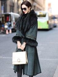 Jacket Leather Luxury Winter Coat Women Natural Wool Fur Coat Female Fox Fur Collar Sheepskin Coat Long Windbreaker MY