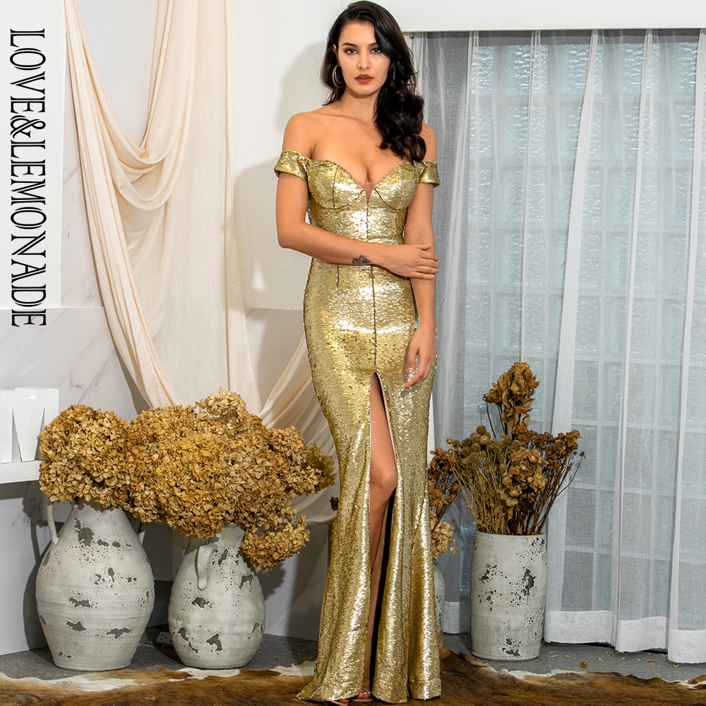 LOVE & LEMONADE Sexy V-Neck Strapless Gold Sequins Whit Split Bodyocn Maxi Dress LM82067