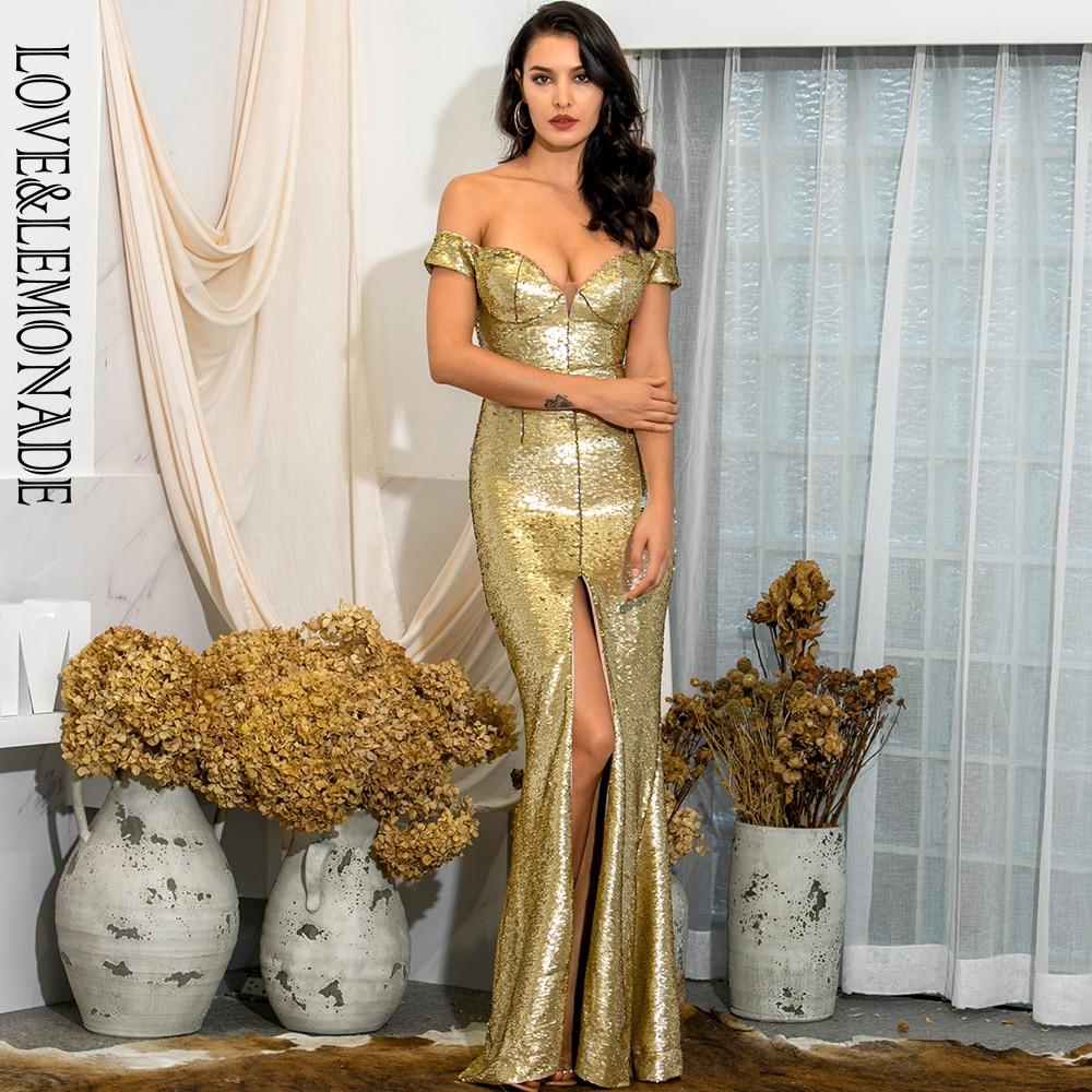 LOVE & LEMONADE Sexy V-Neck Strapless Gold Sequins Whit Split Bodyocn Maxi Dress LM82067