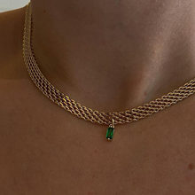 New Design Green Red Blue Square Crystal Pendant Necklace Women Simple Metal Weaved Wide Chain Necklace Collar Fashion Jewelry