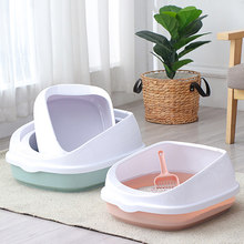 Pet Toilet Bedpan Anti Splash Cats Litter Box Cat Dog Tray with Scoop Kitten Dog Clean Toilette Home Plastic Sand Box Supplies(China)