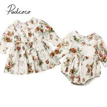 2019 bebê primavera outono roupas da menina do bebê crianças floral macacão vestido irmã correspondência roupas de algodão peter pan bolso