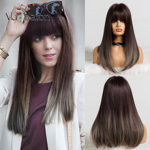 ALAN EATON Long Straight Wigs Bob Wig with Bangs for Black Women High temperature Fiber Ombre Dark Brown Ash Gray Cosplay Wigs