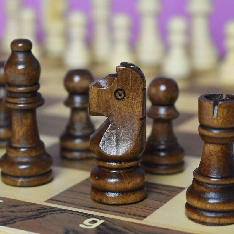 Segurança magnética de madeira dobrável xadrez conjunto