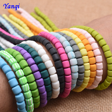 6mm Flat Cylindrical Barrel Beads Handmade Round Polymer Fimo Clay Chip Disk Loose Spacer Beads For DIY Jewelry Making Bracelet borosa 10pcs rainbow handmade bracelets polymer clay beads fimo slices plastic thin disc elastic string bracelet jewelry hd0090