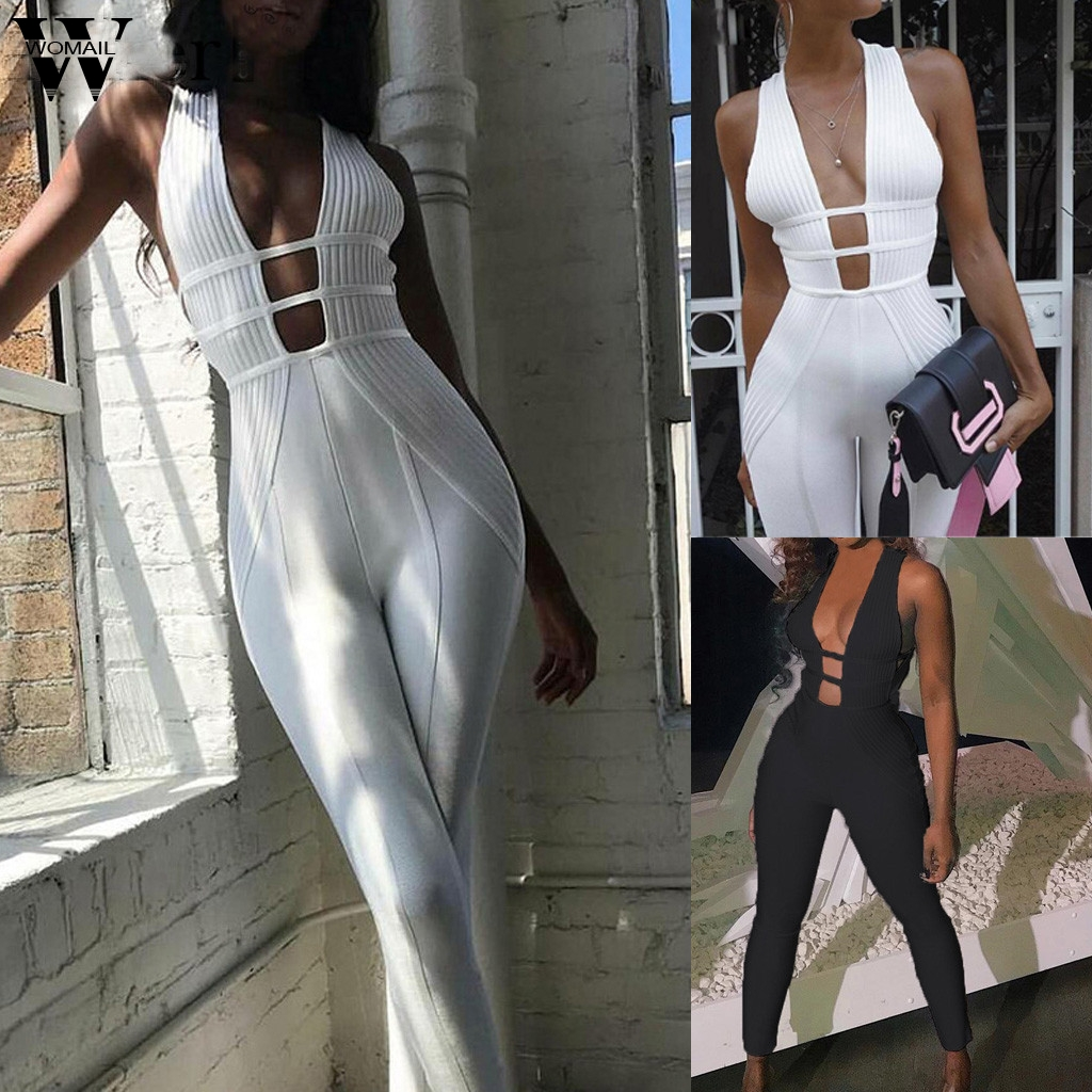 Womail Sexy Jumpsuits Women Knitted V Neck Bodycon Jumpsuit Romper Female Elegant Jumpsuit Long Playsuit Overall Party Fitness