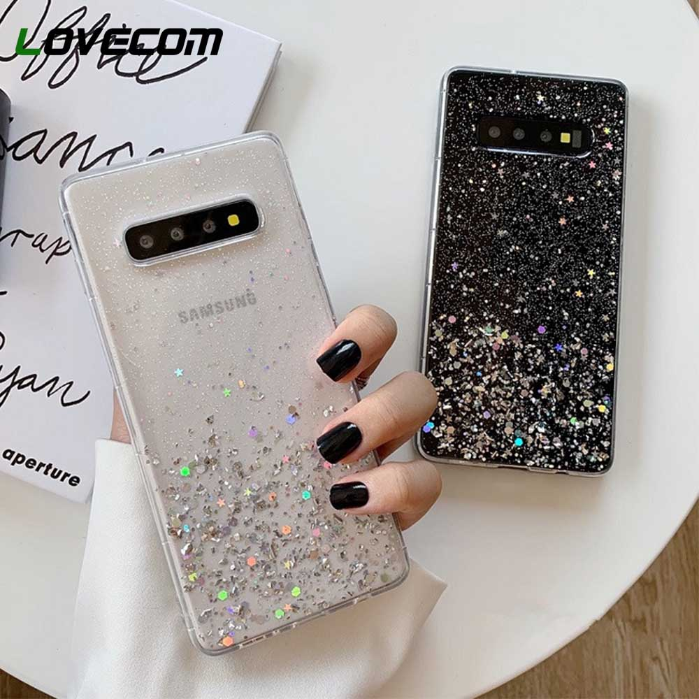 LOVECOM Glitter Bling Sequins Phone Cases For Samsung Galaxy S10 S9 S8 Plus Note 9 Note 8 Soft Epoxy Clear Luxury Phone Cover(China)