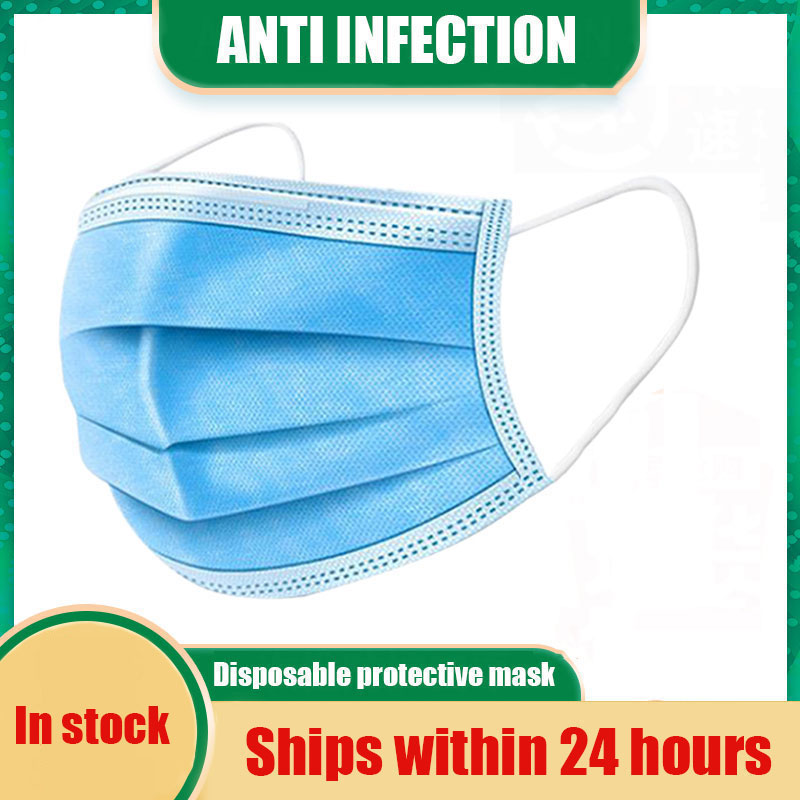 Disposable Protective Mask 5-500pcs Antibacterial 3 Layer Safe Breathable Waterproof Meltblown Cloth Facial Cover Anti Dust Mask