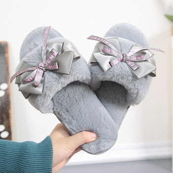 Women Plush Home Slippers Cute Butterfly-knot Faux Fur Warm Flat Girls Shoes Slip on Autumn Winter Indoor Furry Ladies Slides gktinoo autumn winter warm women home slippers soft non slip indoor shoes cute house slip on flat slides ladies fur slippers