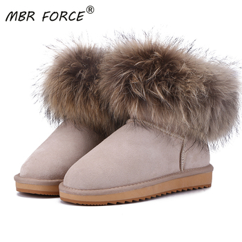 MBR FORCE Australia classic women Cow Suede Leather Fox Fur Women Short Winter boots for Women Ankle Snow Boots Keep Warm Shoes 2018 fashion natural cow suede split leather womans winter snow boots for women winter shoes warm fur high quality ankle boots