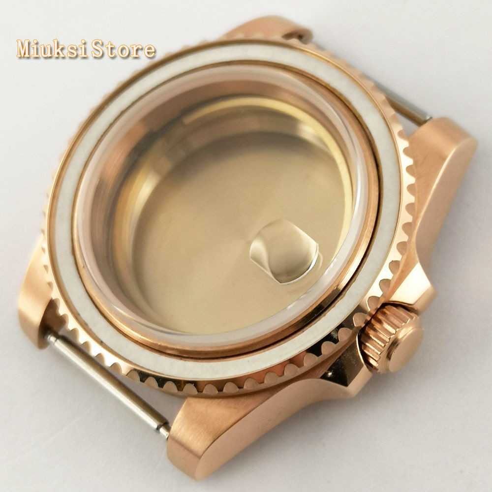 Parnis 40mm Sapphire Glass Rose Gold Solid 316L Stainless Steel Case For ETA 2836 Mingzhu DG2813,3804,Miyota 8215 Movement
