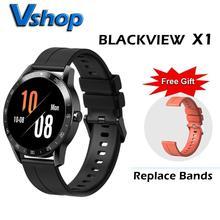 Blackview x1 smartwatch 5atm, relógio inteligente unissex esportivo, monitoramento de sono, à prova d água, monitor de frequência cardíaca, para ios e android telefone móvel